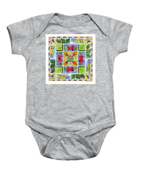 Hawaiian Mandala Iv - Anthuriums Baby Onesie