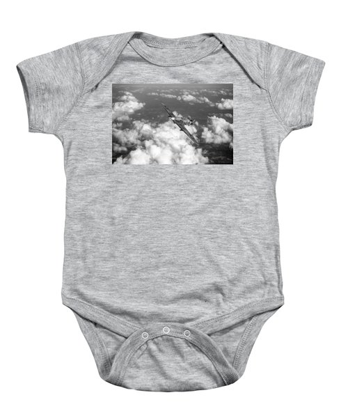 Baby Onesie featuring the photograph Hawker Hurricane IIb Of 174 Squadron Bw Version by Gary Eason