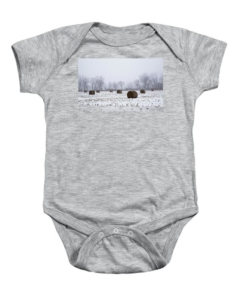 Hay Bales In The Snow Baby Onesie