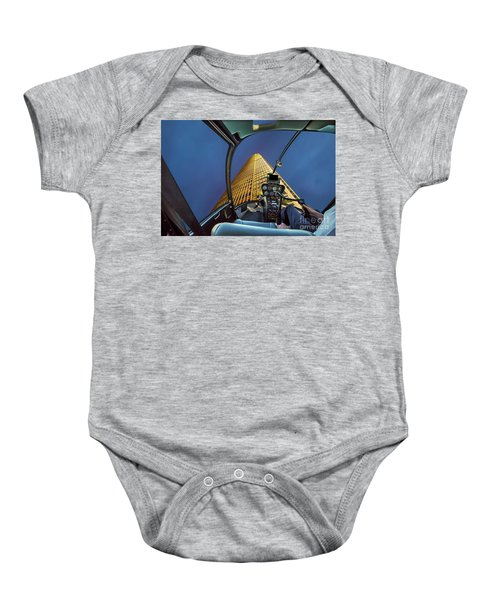 Helicopter On Skyscaper Facade Baby Onesie