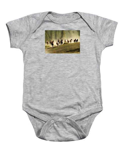 Herd Of Wild Horses Baby Onesie