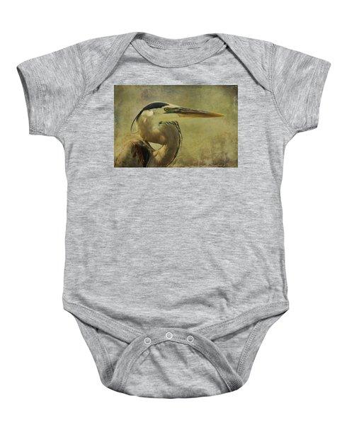 Heron On Texture Baby Onesie