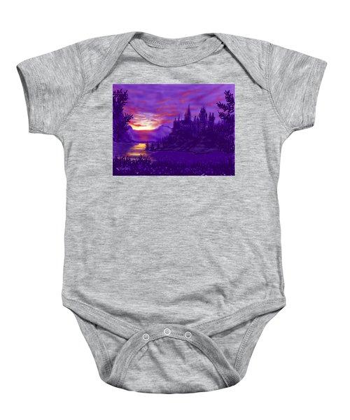 Hogwarts In Purple Baby Onesie