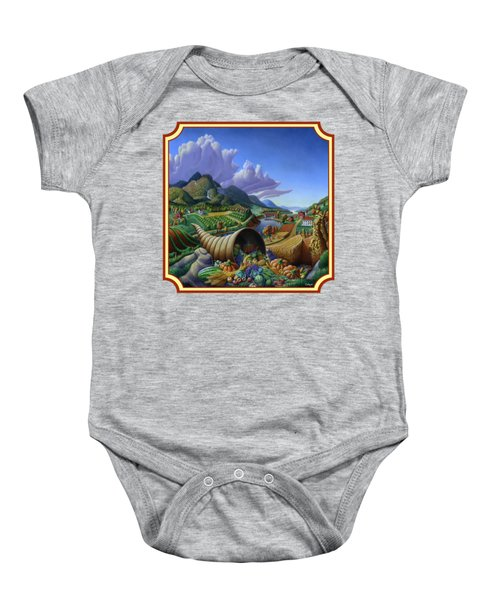 Horn Of Plenty Farm Landscape - Bountiful Harvest - Square Format Baby Onesie
