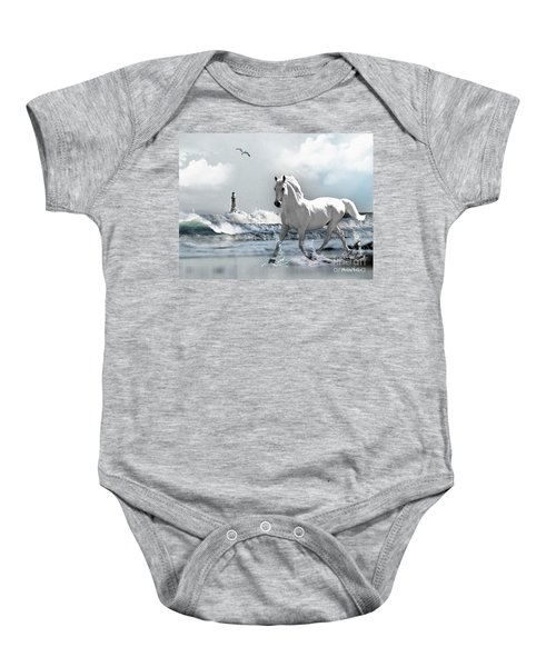 Baby Onesie featuring the photograph Horse At Roker Pier by Morag Bates