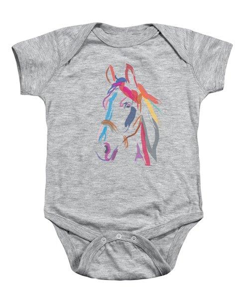 Baby Onesie featuring the painting Horse Colour Me Beautiful In Ecru by Go Van Kampen