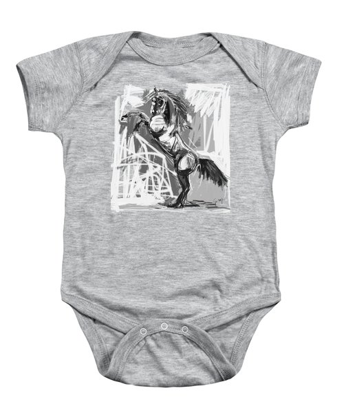 Baby Onesie featuring the painting Horse Rising High Black And White by Go Van Kampen