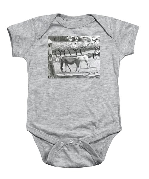 Horses And Trees In Bloom Baby Onesie