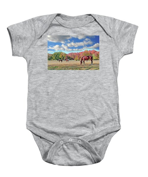Horses Grazing At A Stable In Maryland Baby Onesie