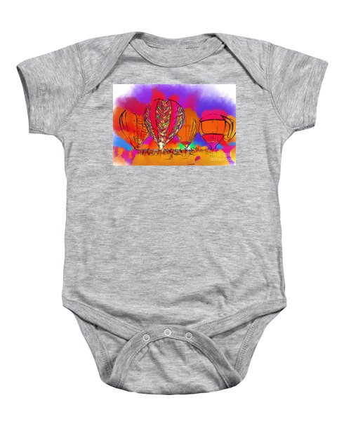 Hot Air Balloons In Subtle Abstract Baby Onesie