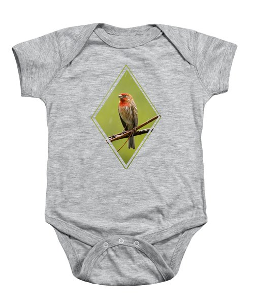 House Finch In The Rain Baby Onesie by Christina Rollo