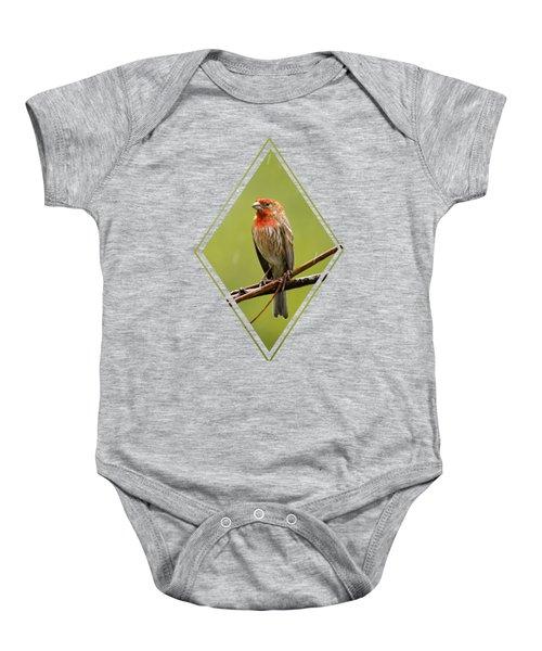 House Finch In The Rain Baby Onesie
