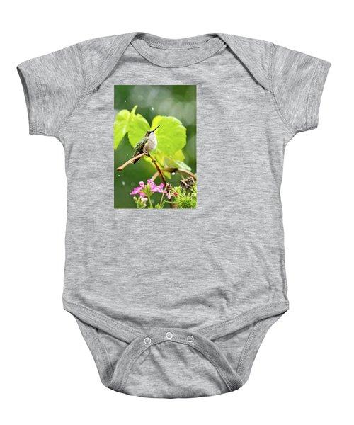 Hummingbird On Vine In The Rain Baby Onesie