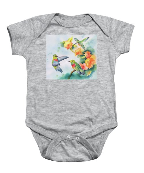 Hummingbirds With Orange Flowers Baby Onesie