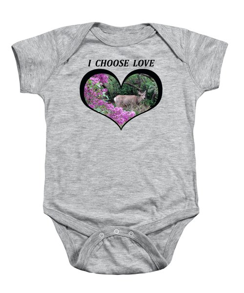 I Chose Love With Deers Among Lilacs In A Heart Baby Onesie
