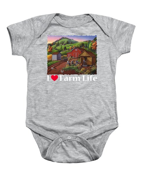 I Love Farm Life Shirt - Farmers Shucking Corn - Corncrib - Corn Crib - Farm Landscape Baby Onesie