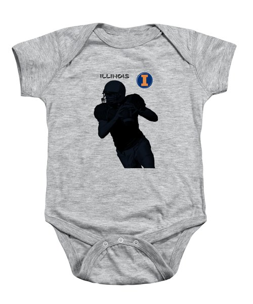 Baby Onesie featuring the digital art Illinois Football by David Dehner