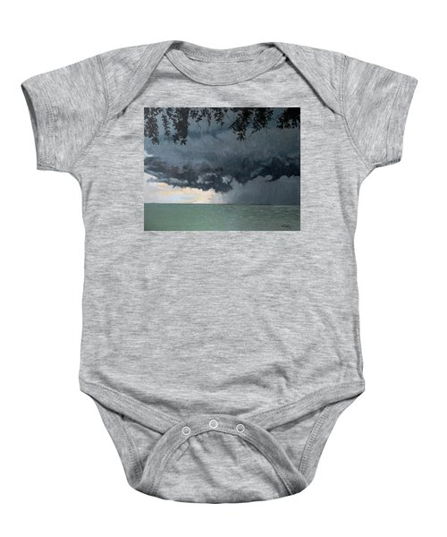 In Coming Storm-epping Forest On The Lake Baby Onesie