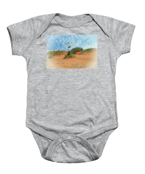 In The Dunes With A Hummingbird Baby Onesie