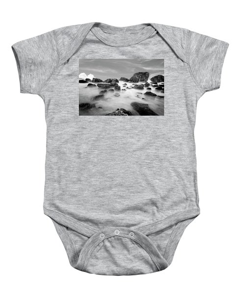 Indian Beach, Ecola State Park, Oregon, In Black And White Baby Onesie