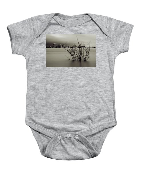 Industry On The Mississippi River, In Monochrome Baby Onesie