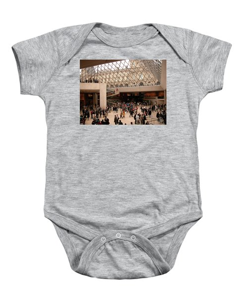 Baby Onesie featuring the photograph Inside Louvre Museum Pyramid by Mark Czerniec