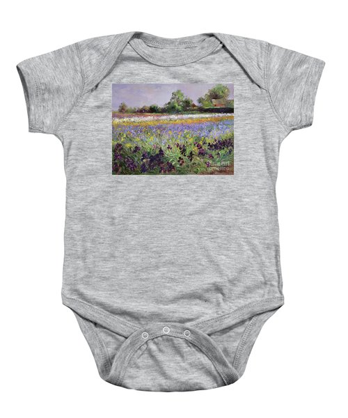 Iris Field And Two Cottages Baby Onesie