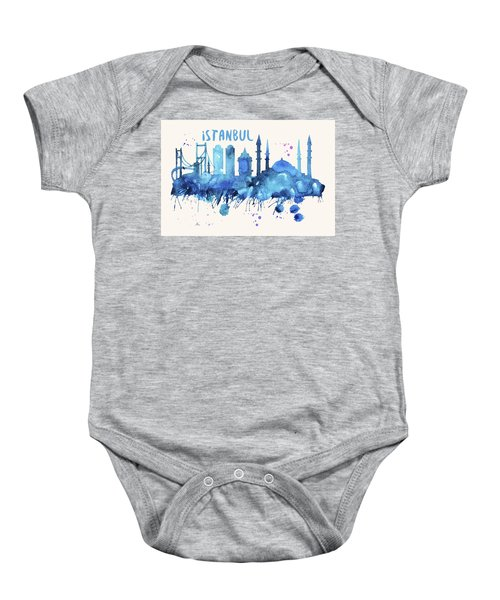 Istanbul Skyline Watercolor Poster - Cityscape Painting Artwork Baby Onesie