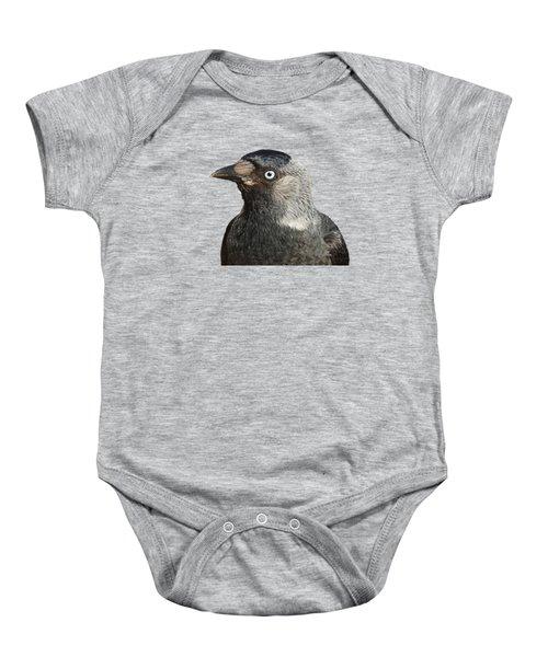 Jackdaw Corvus Monedula Bird Portrait Vector Baby Onesie