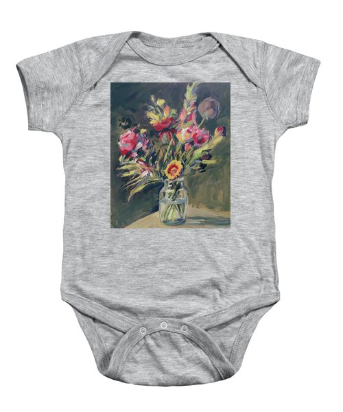 Jar Vase With Flowers Baby Onesie