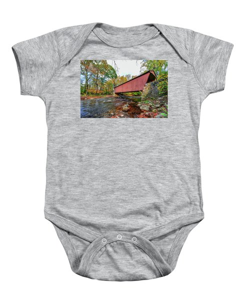 Jericho Covered Bridge In Maryland During Autumn Baby Onesie