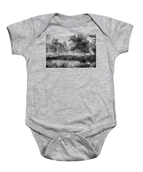 Jersey Pine Lands In Black - White Baby Onesie