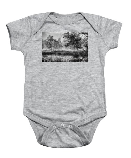 Jersey Pine Lands In Black - White Baby Onesie