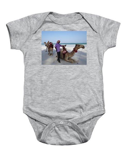 Just Married Camels Kenya Beach 2 Baby Onesie