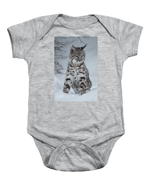 Juvenile Bobcat In The Snow Baby Onesie