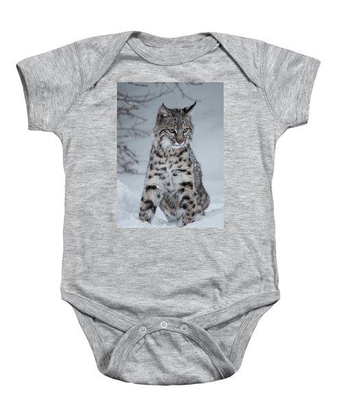 Juvenile Bobcat In The Snow Baby Onesie