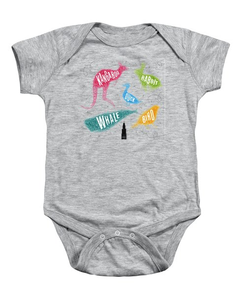 Kangaroo - Rabbit - Duck - Whale - Bird In Colors Baby Onesie by Aloke Creative Store