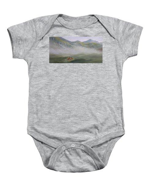 Kayaking Through The Fog Baby Onesie