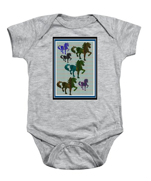 Kids Fun Gallery Horse Prancing Art Made Of Jungle Green Wild Colors Baby Onesie by Navin Joshi