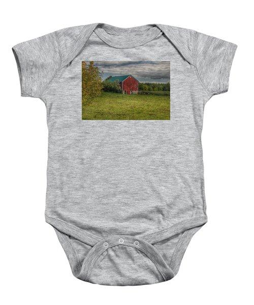 0039 - Kingston's Plain Road Cow Barn I Baby Onesie