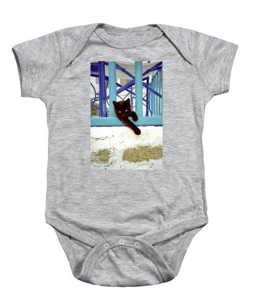 Kitten With Blue Rail Baby Onesie