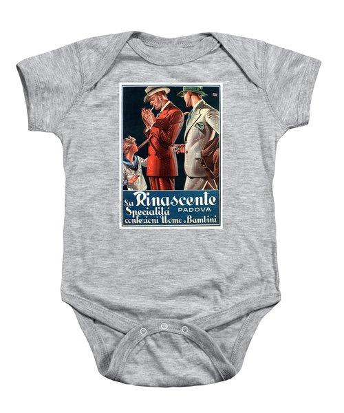 La Rinascente - Clothing For Men - Italian Fashion - Padova, Italy - Vintage Advertising Poster Baby Onesie