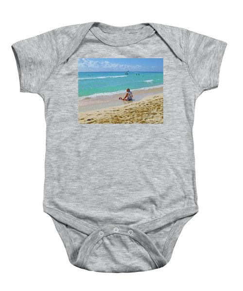 Baby Onesie featuring the digital art Lady On The Beach by Francesca Mackenney