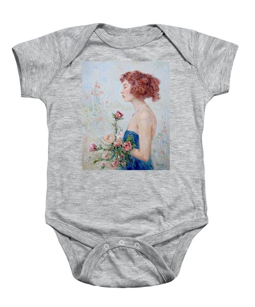 Lady With Roses  Baby Onesie