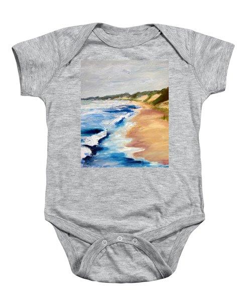 Lake Michigan Beach With Whitecaps Detail Baby Onesie