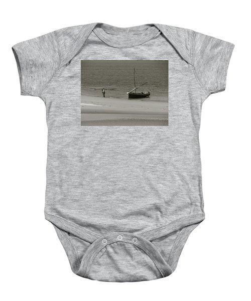 Lamu Island - Wooden Fishing Dhow Getting Unloaded - Black And White Baby Onesie