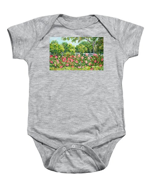 Landscape With Roses Fence Baby Onesie