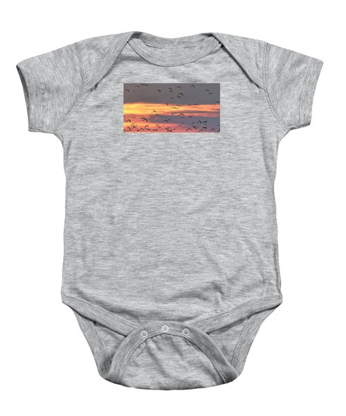 Lapwings At Sunset Baby Onesie by Jeff Townsend