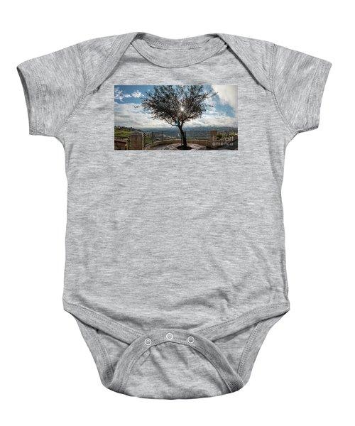 Large Tree Overlooking The City Of Jerusalem Baby Onesie