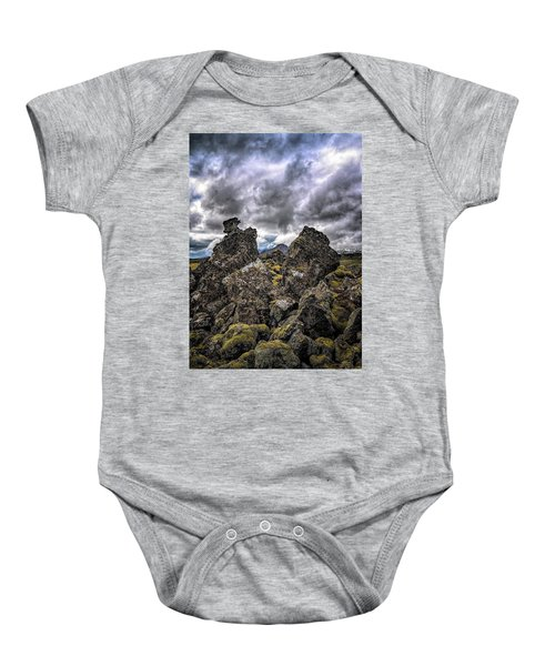 Lava Rock And Clouds Baby Onesie